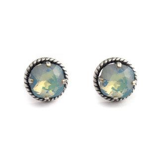 Krikor Blauwe kristal oorstekers 12 mm