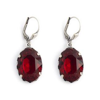 Krikor Ovale oorbellen rood kristal