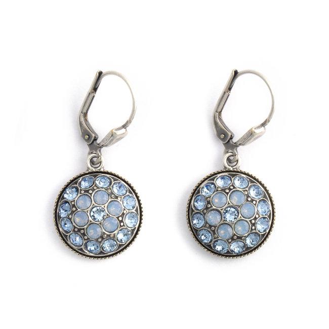 Ronde oorbellen met blauw Swarovski kristal
