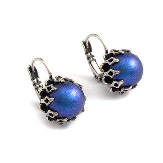 Krikor Donker blauwe oorbellen kroonzetting