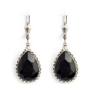 Krikor Druppel oorbellen zwart kristal