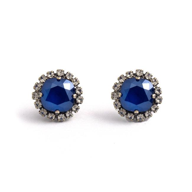 Oorstekers 12 mm met blauw Swarovski kristal