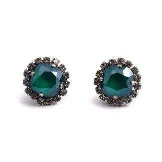 Krikor Groene kristal oorstekers 12 mm
