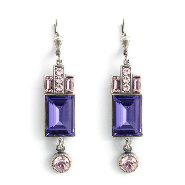 Paarse kristal oorbellen in art deco stijl