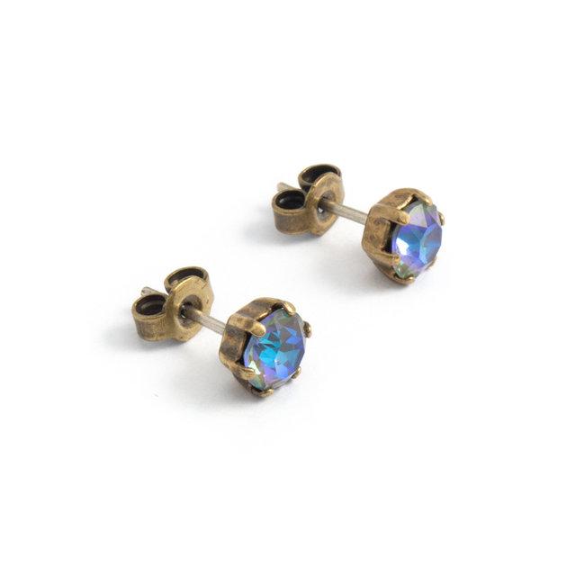 Oorknopjes met 6 mm blauwe kristallen