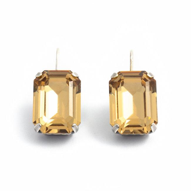 Rechthoekige oorbellen met goudgele Swarovski kristal
