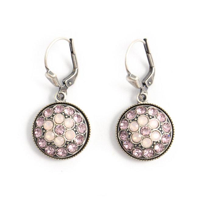Krikor Ronde oorbellen roze Swarovski kristal