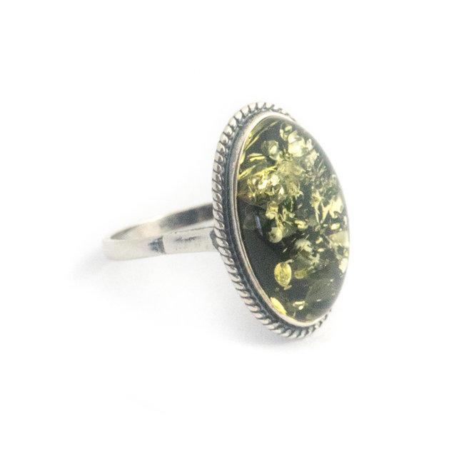 Aurora Patina Zilveren ring groene barnsteen ovaal