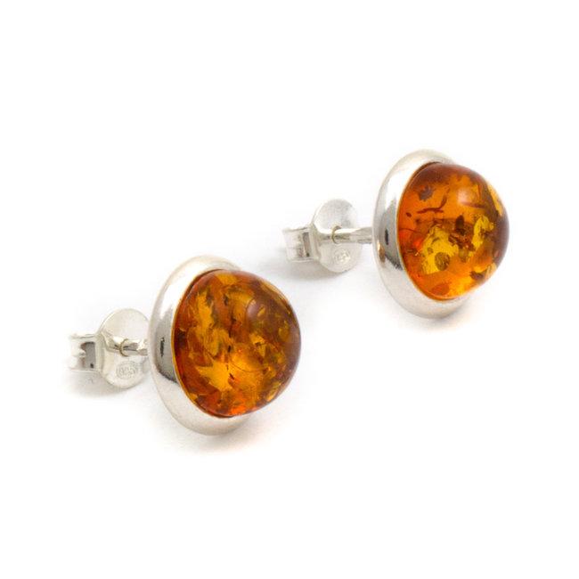 Zilveren oorknopjes met oranje barnsteen 9 mm
