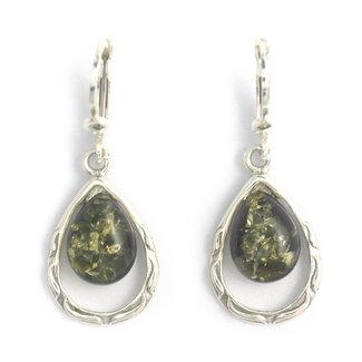 Aurora Patina Zilveren oorbellen groene barnsteen druppel