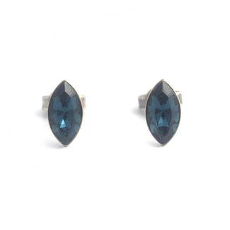 Krikor Donker blauwe oorknopjes ellips 10 x 4 mm