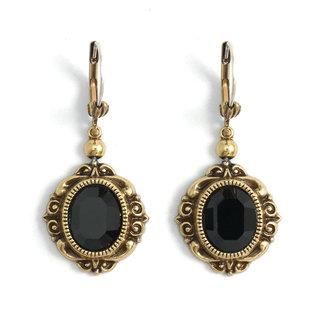 Krikor Ovale kristal oorbellen zwart
