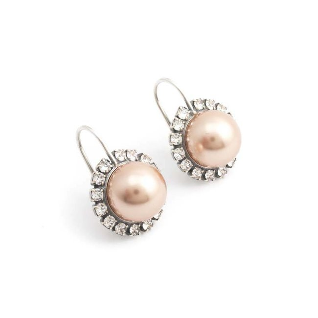 Krikor Goud roze parel oorbellen 10 mm rosé goud