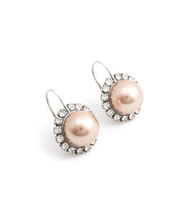 Krikor Goud roze parel oorbellen met kristal