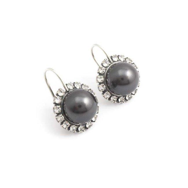 Donker grijze parel oorbellen met kristal