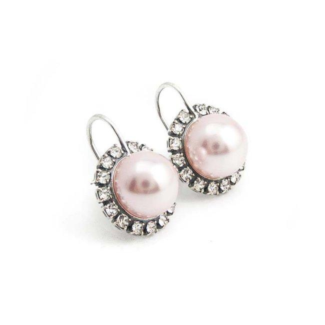 Roze parel oorbellen 10 mm met kristal