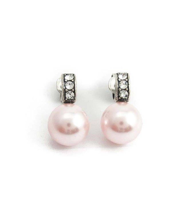 Krikor Roze parel oorbellen 10 mm met kristal