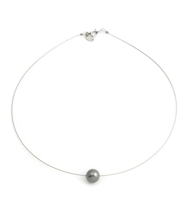 Krikor Grijze parel ketting met enkele 10 mm dark grey Swarovski Elements parel