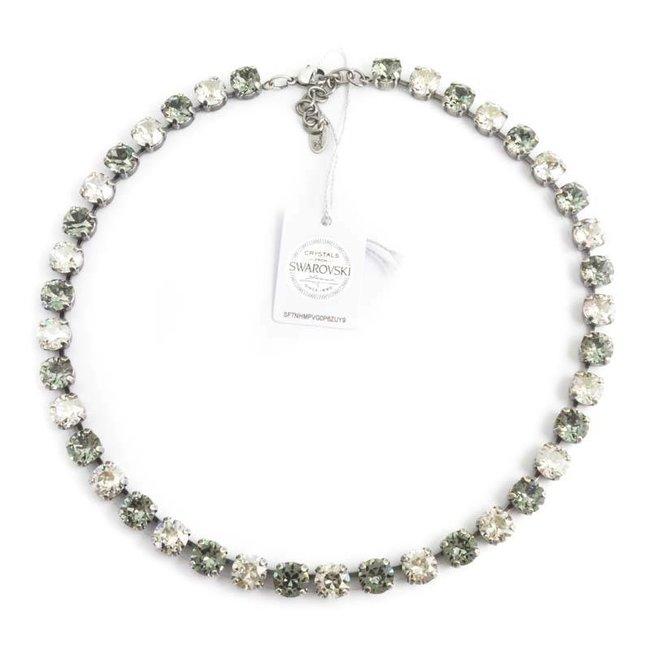 Grijs collier met Swarovski kristallen