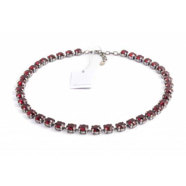 Robijn rood collier met Swarovski kristallen