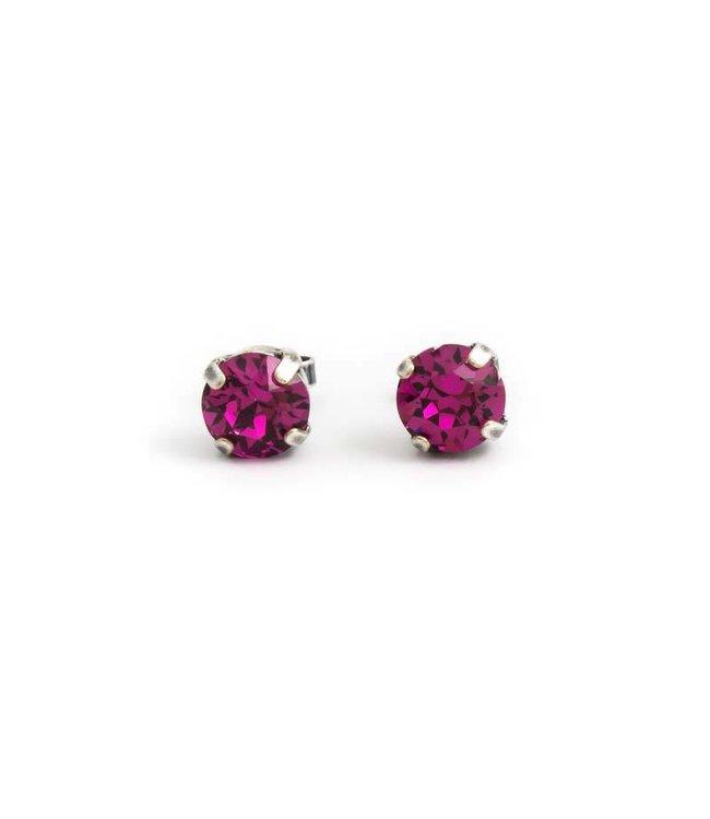 Krikor Verzilverde oorknopjes met 8 mm fuchsia roze kristal