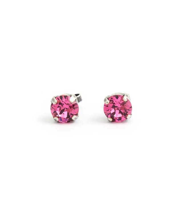 Krikor Verzilverde oorknopjes met 8 mm roze kristal