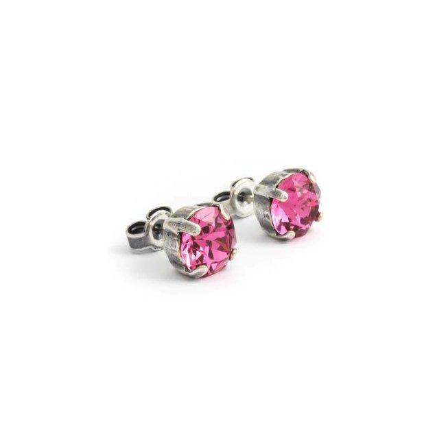 Verzilverde oorknopjes met 8 mm roze kristal