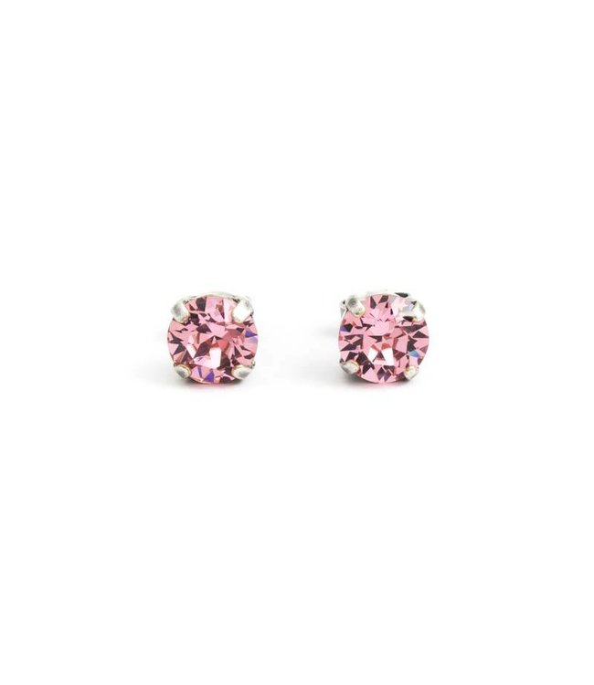 Krikor Verzilverde oorknopjes met 8 mm licht roze kristal
