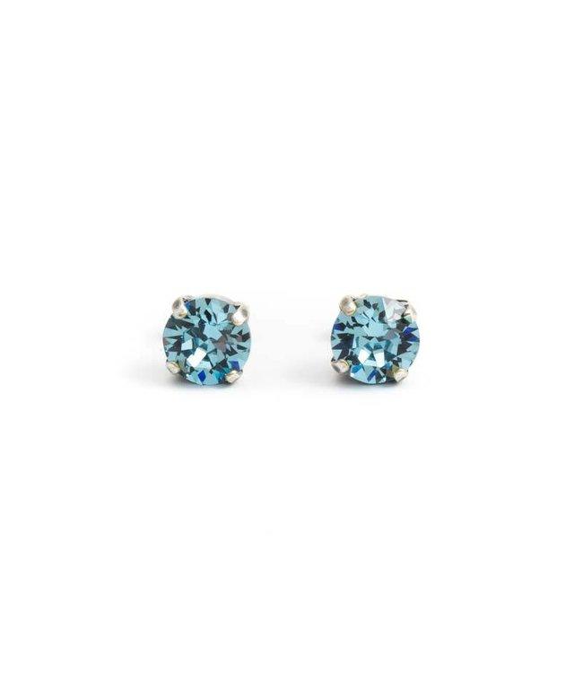 Krikor Verzilverde oorknopjes met 8 mm aquamarijn blauw kristal