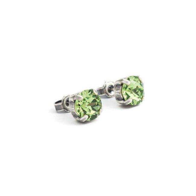 Krikor Peridot groene oorknopjes 8 mm