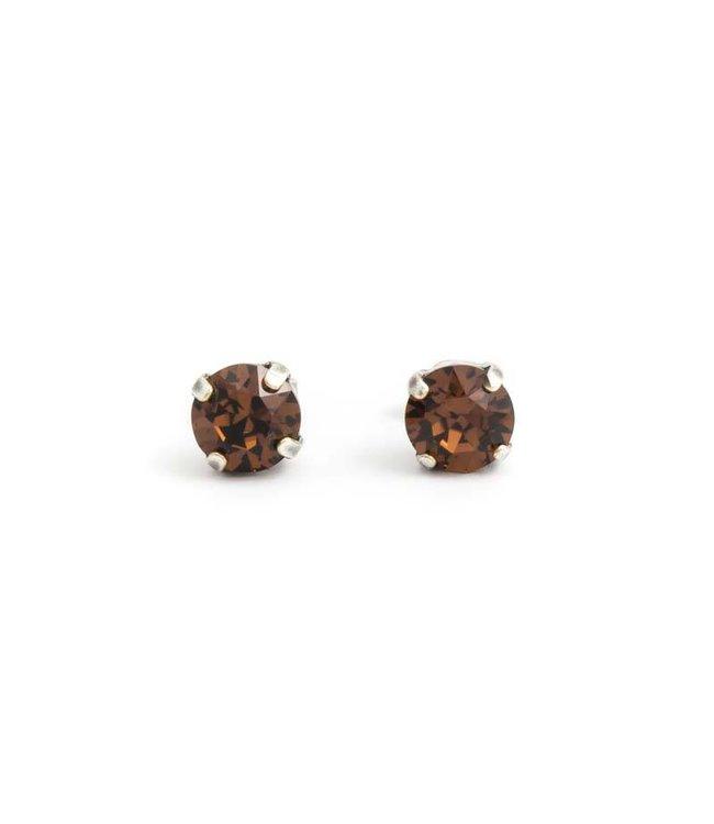 Krikor Verzilverde oorknopjes met 8 mm donker bruin kristal