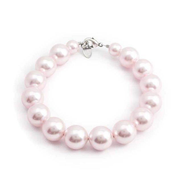 Roze parel armband met 12 mm rosalin parels
