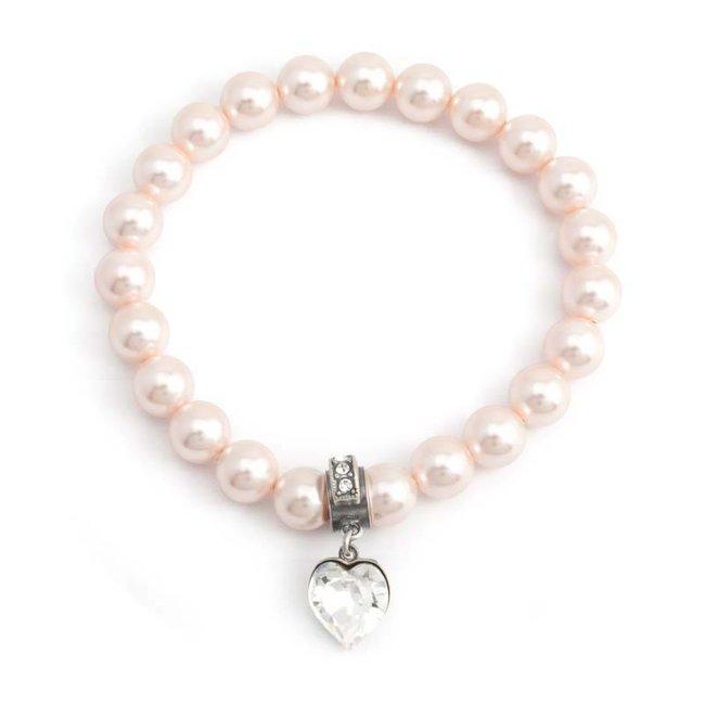 Perzik roze parel armband met bedel hartje