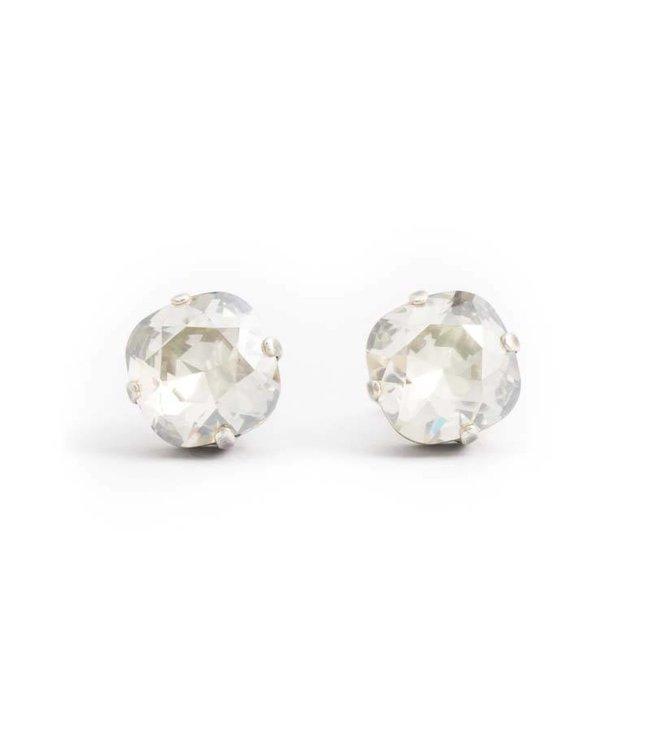 Krikor Licht grijze oorknopjes met carré Swarovski kristal