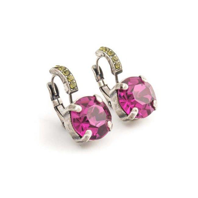 Roze oorbellen met Swarovski kristal