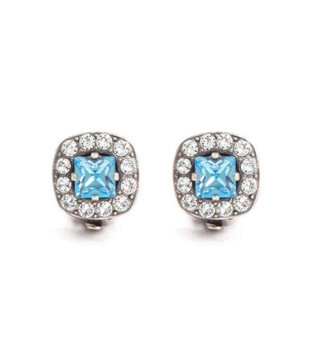 Krikor Blauwe oorclips met Swarovski kristallen