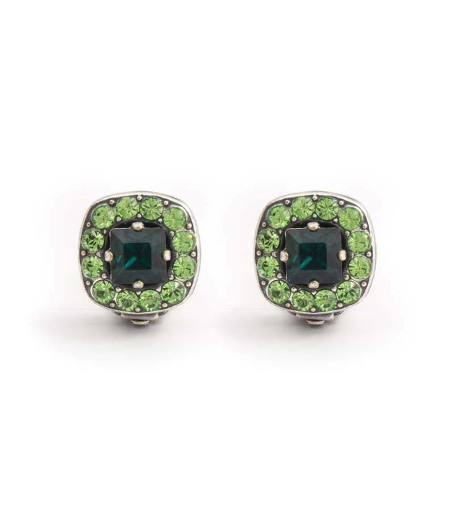 Krikor Groene oorclips met Swarovski kristallen