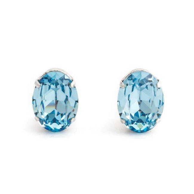 Licht blauwe oorclips met auqamarine kristal 18x14 mm