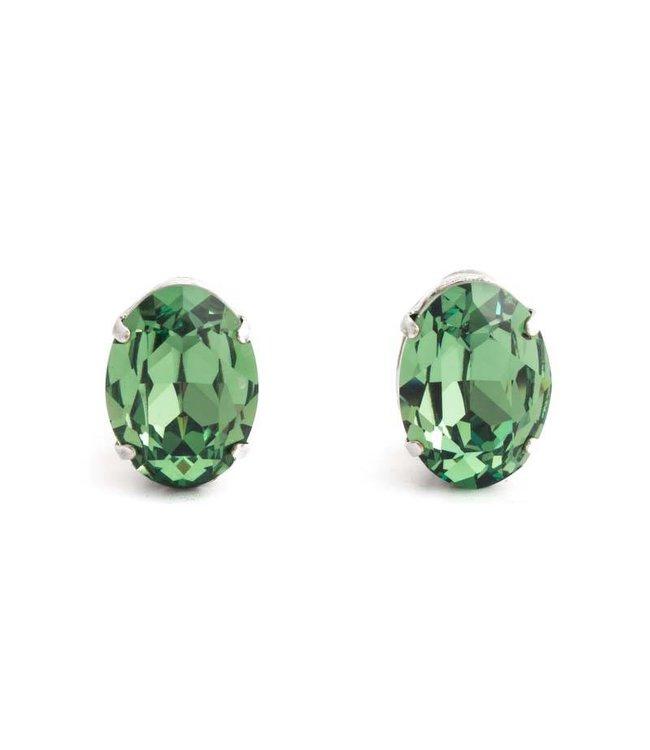 Krikor Groene oorclips met groen kristal 18x14 mm