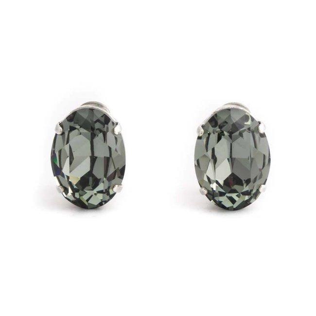 Grijze oorclips met black diamond kristal 18x14 mm