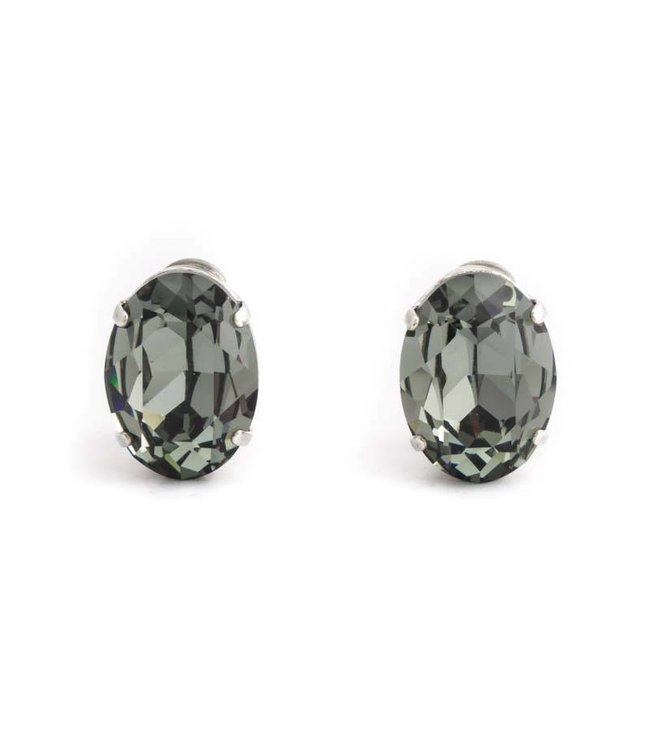 Krikor Grijze oorclips met black diamond kristal 18x14 mm