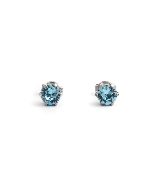 Krikor Verzilverde oorknopjes met 6 mm aquamarijn blauw kristal