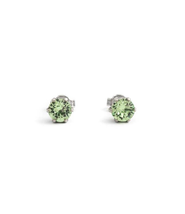 Krikor Verzilverde oorknopjes met 6 mm peridot groene kristallen