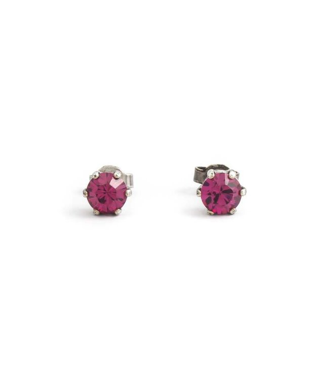 Krikor Verzilverde oorknopjes met 6 mm fuchsia roze kristal