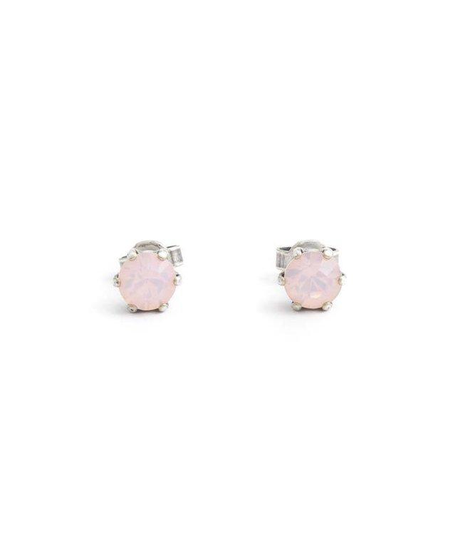 Krikor Verzilverde oorknopjes met 6 mm opaque roze kristal