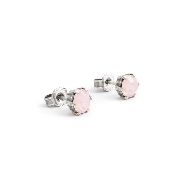 Krikor Opaque roze oorknopjes 6 mm