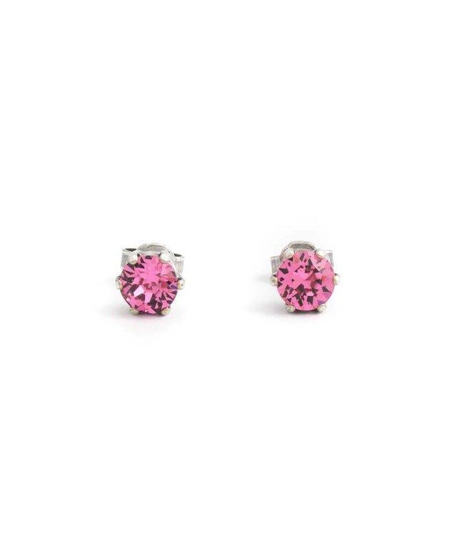 Krikor Oorknopjes met 6 mm roze kristallen
