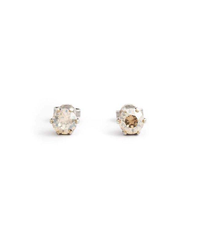 Krikor Oorknopjes met 6 mm goud beige kristal