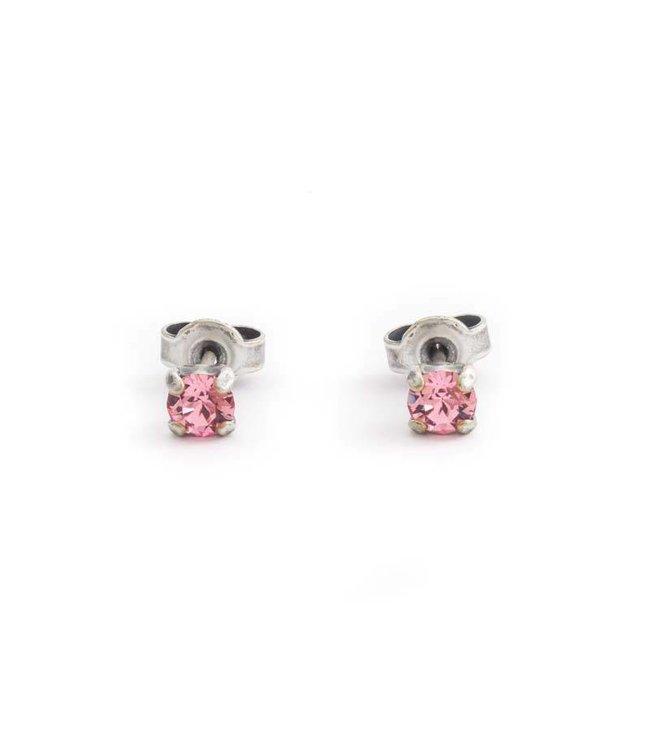 Krikor Verzilverde oorknopjes met 4 mm licht roze kristal