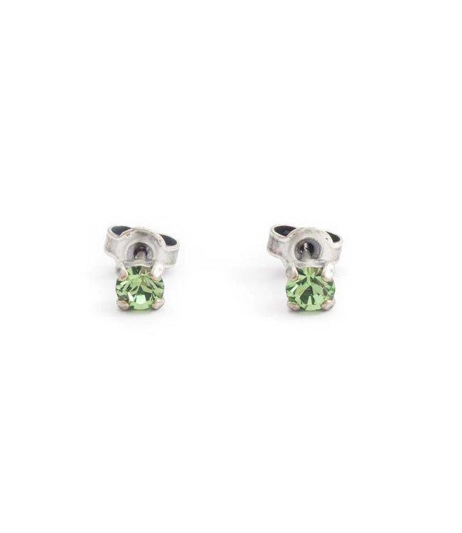 Krikor Verzilverde oorknopjes met 4 mm peridot groen kristal